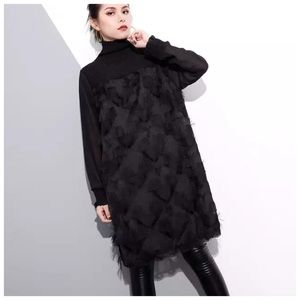 Dresses & Skirts - Black Textured Eyelash Star Smocked Dress C6